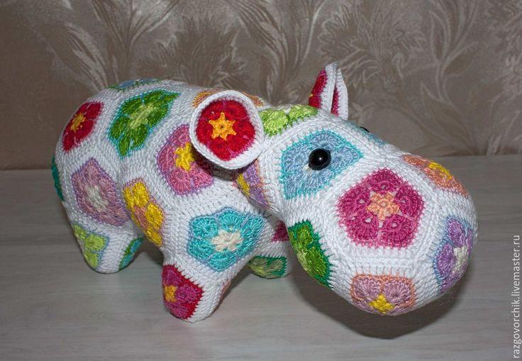 Купить Бегемот вязаный - разноцветный, бегемот, бегемотик, бегемот игрушка, игрушка бегемот, вязаный бегемот