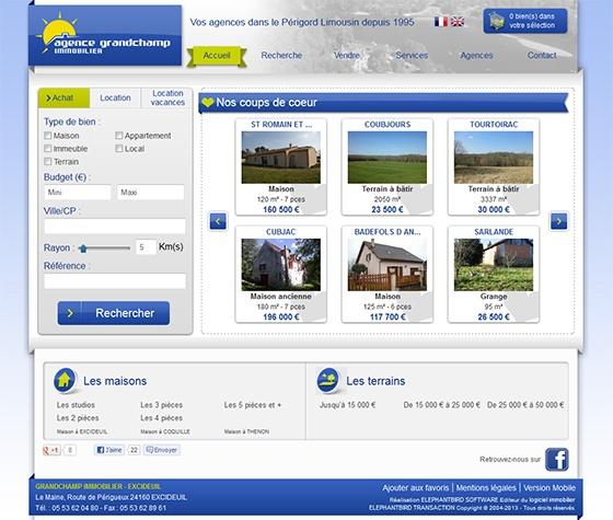 Refonte du site Internet de l'agence Grandchamp immobilier