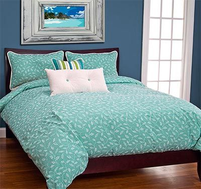 The Tropical Beach Bedding Set will beautifully enhance your ocean themed getaway with island inspired design. An elegant leaf pattern adorns our aqua toned comforter that comes with a duvet-style, removable insert with buttons