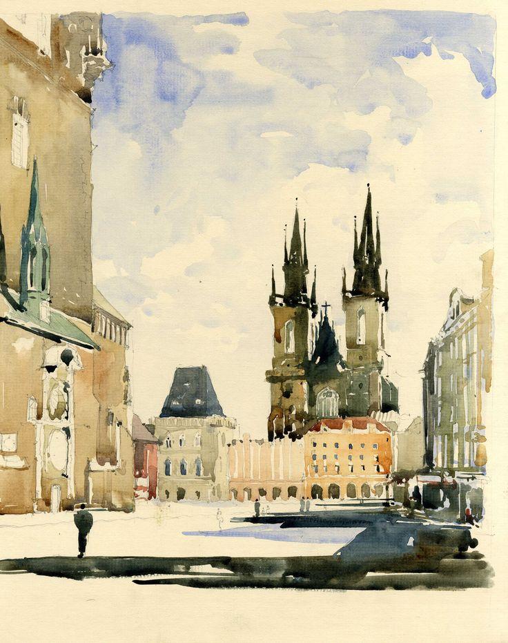 Watercolour Sketch - Main Square in Prague www.nickhirst.co.uk