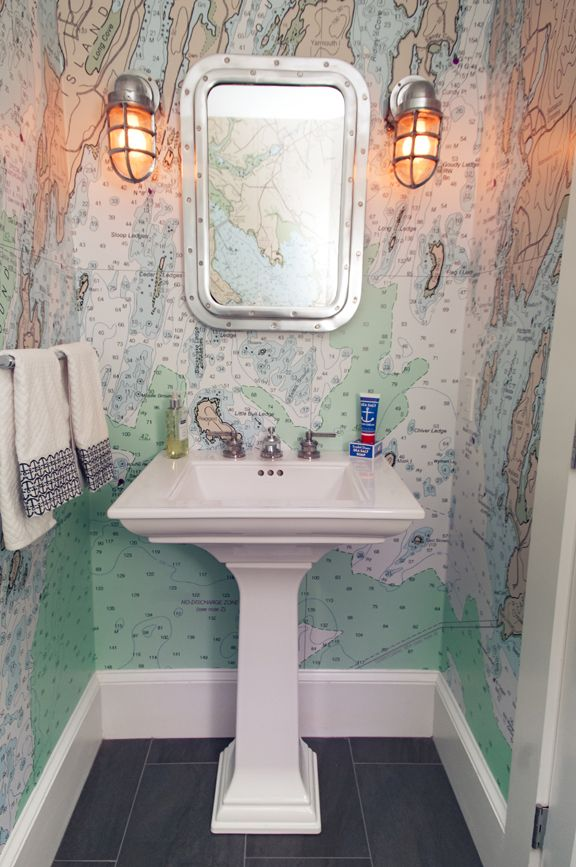 Neat Wall Map Idea For The Walls Powder Room Design