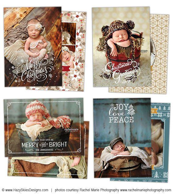 Christmas Card Templates for Photographers #holiday #christmas #card #templates #photography #newborn #family #photoshop #digital #overlays #calligraphy