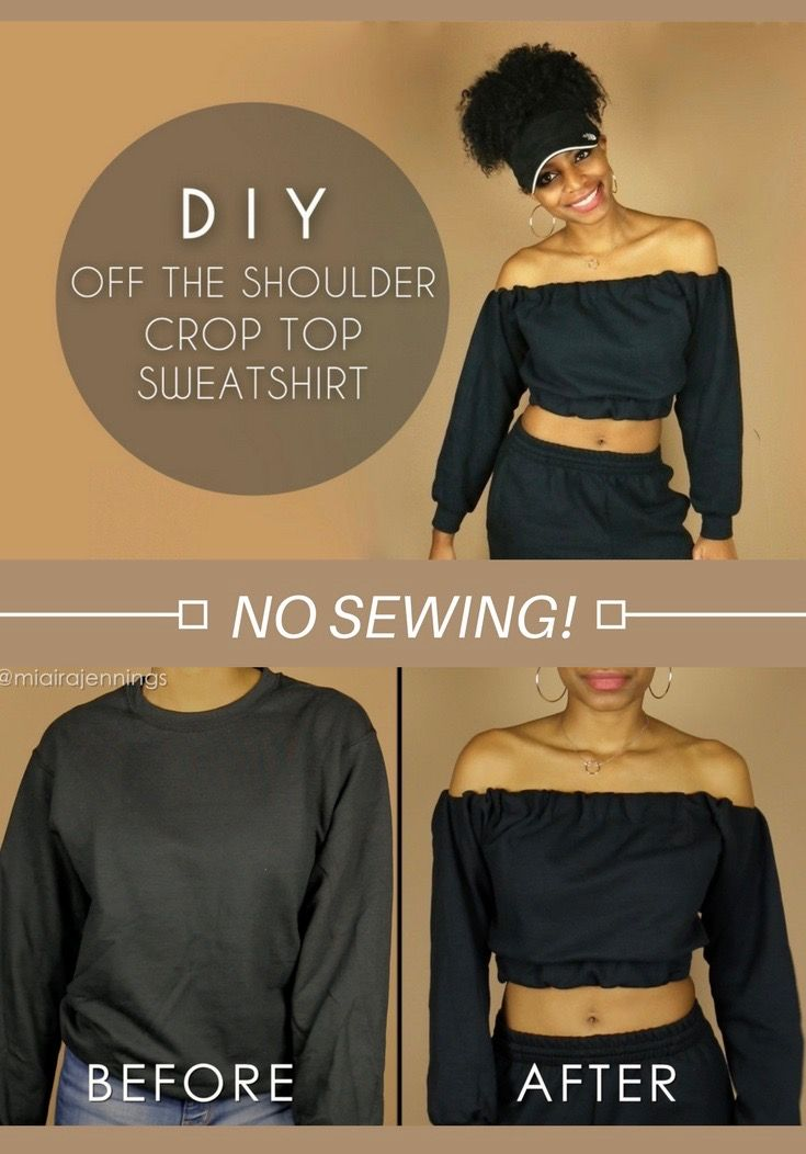 Easy Diy Off The Shoulder Crop Top Sweatshirt With No Sewing Fashion Thrift Transform Cloth Diy Fashion Clothing Diy Clothes Hacks Diy Fashion No Sew