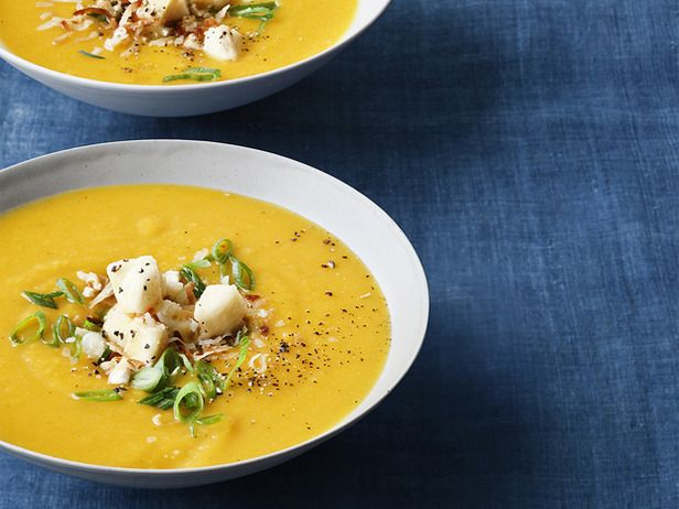 Roasted Butternut Squash Soup and Curry Condiments by Ina Garten.