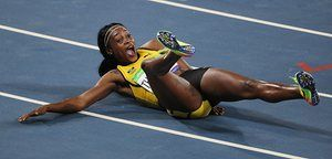 Elaine Thompson can't contain her delight after winning her second gold for Jamaica in the women's 200m final.