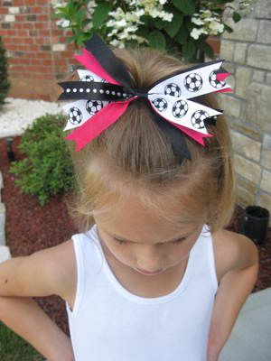 Girls SOCCER Ball spiked bows  for soccer practice and games !!