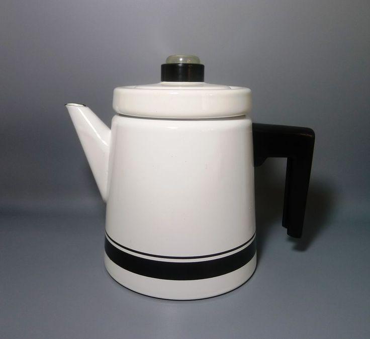 Scandinavian Arabia Finel Finland  white and black enamel coffee pot kettle
