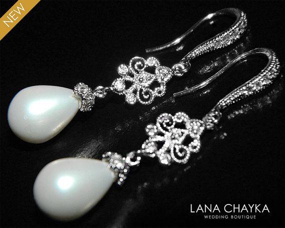 White Teardrop Pearl Chandelier Earrings Dangle by LanaChayka