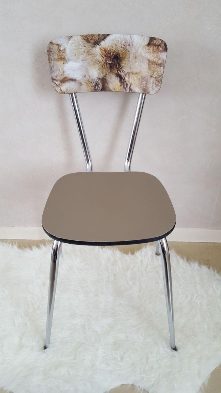 Great chaise en formica des annes trs bien conserve entirement relook au got du with relooker - Relooker une chaise en formica ...