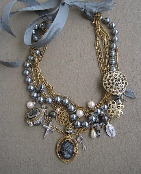 multi strand charm necklace