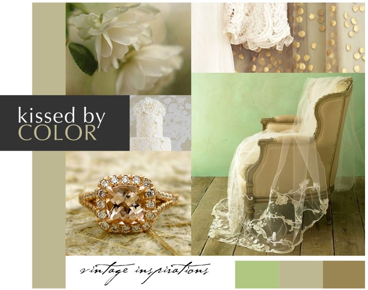 green and beige: Design Inspiration, Gold Weddings, Gold Wedding Colors, Color Inspiration, Weddings Events, Wedding Ideas, Rcwedding Inspiration, Vintage Inspiration, Colors Champagne