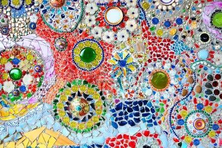 Bunte Glas-Mosaik Kunst und abstrakte Wand Hintergrund photo