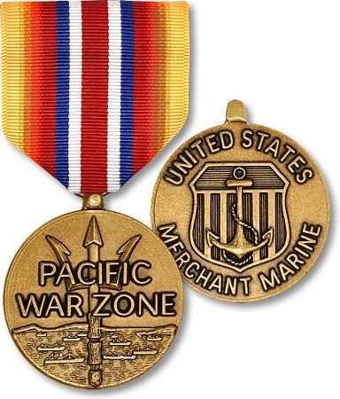 Merchant Marine Pacific War Zone Full Size Medal $31.95