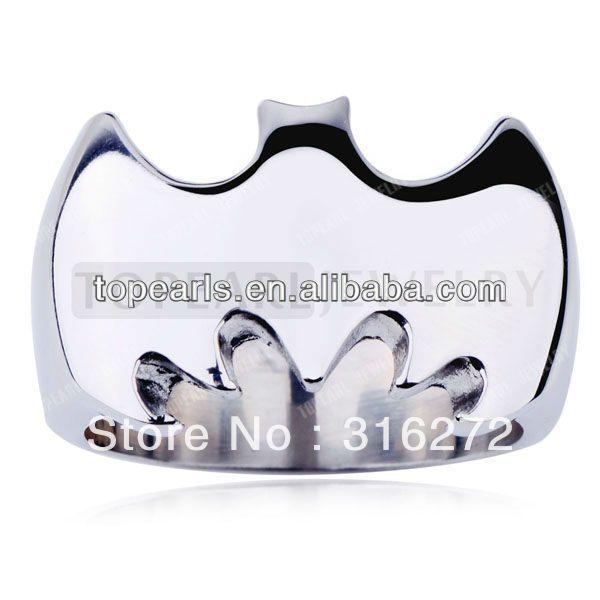 Topearl Ювелирные Изделия 3 шт. Высокая Польский Бэтмен 316 Серебряное Кольцо Из Нержавеющей Стали MER230