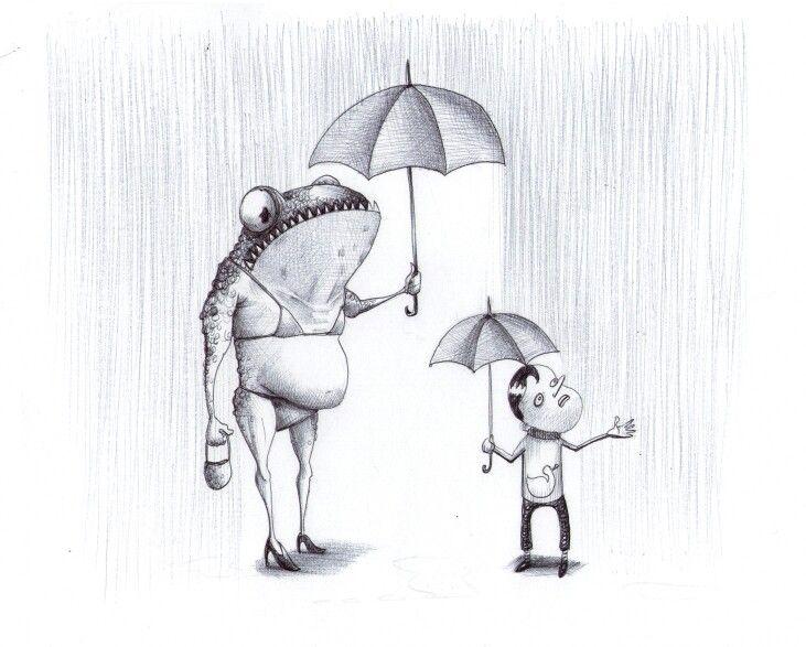 'The Rain'. Illustration by Chris Harrendence