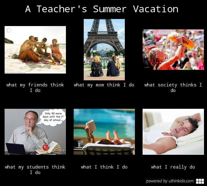 What friends and society think I do look very appealing.  The reality is what students think I do and what I really do though.  Maybe next year I will be able to escape to that Newport summer rental I dream about!