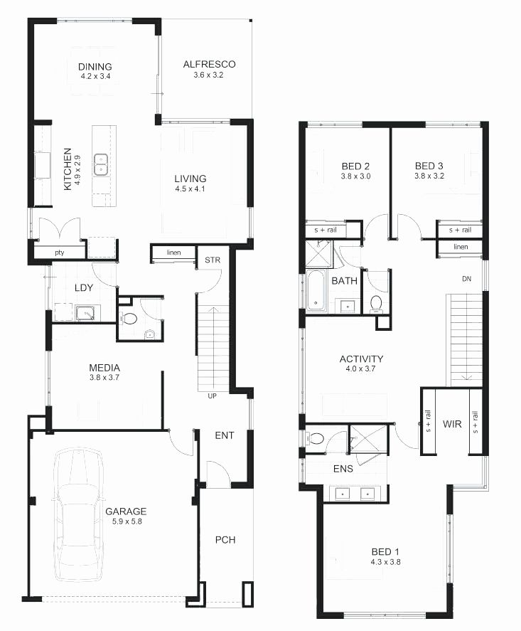 Popular 3 Bedroom House Floorplan Plan In Nigerium Best Of Floor Blueprint View For Rent With P Two Story House Plans House Plans 2 Storey Narrow House Plans