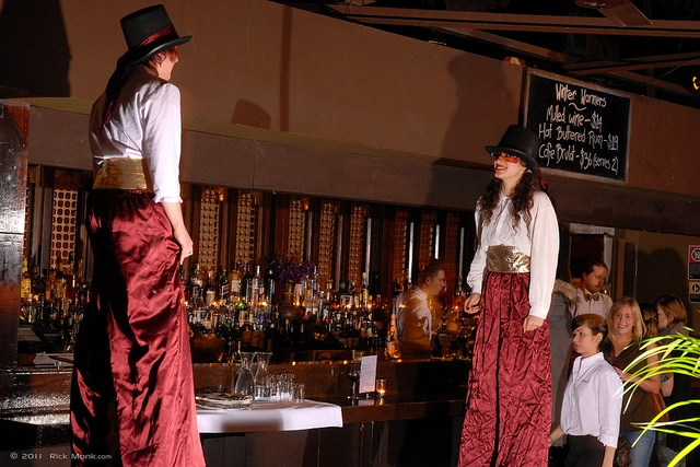 Stilts- Miss Kim and Miss Nadia Stiltwalking at the Victoria Room. Photo: Rick Monk