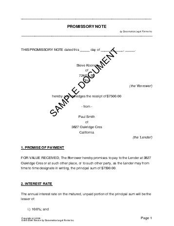 Printable Sample Promissory Note Form Form