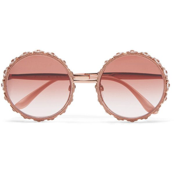 Dolce & Gabbana Swarovski crystal-embellished round-frame rose... ($2,165) ❤ liked on Polyvore featuring accessories, eyewear, sunglasses, glasses, swarovski crystal eyewear, floral sunglasses, round frame sunglasses, embellished sunglasses and floral glasses