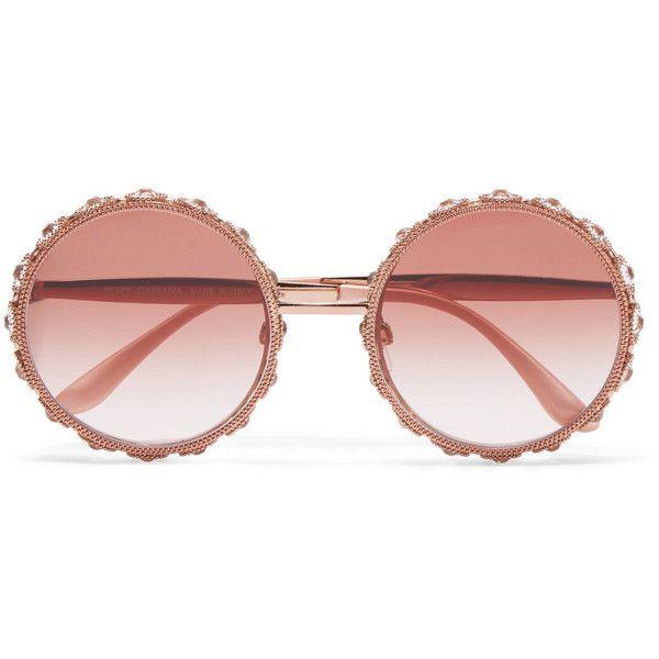 Dolce & Gabbana Swarovski crystal-embellished round-frame rose... (6.980 BRL) ❤ liked on Polyvore featuring accessories, eyewear, sunglasses, glasses, óculos, metal glasses, pink glasses, dolce gabbana glasses, floral sunglasses and metal sunglasses