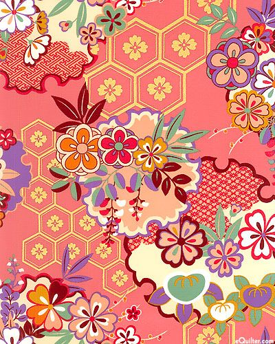Sakura - Garden of Medallions - Quilt Fabrics from www.eQuilter.com.  Would be great for. One Block Wonder quilt