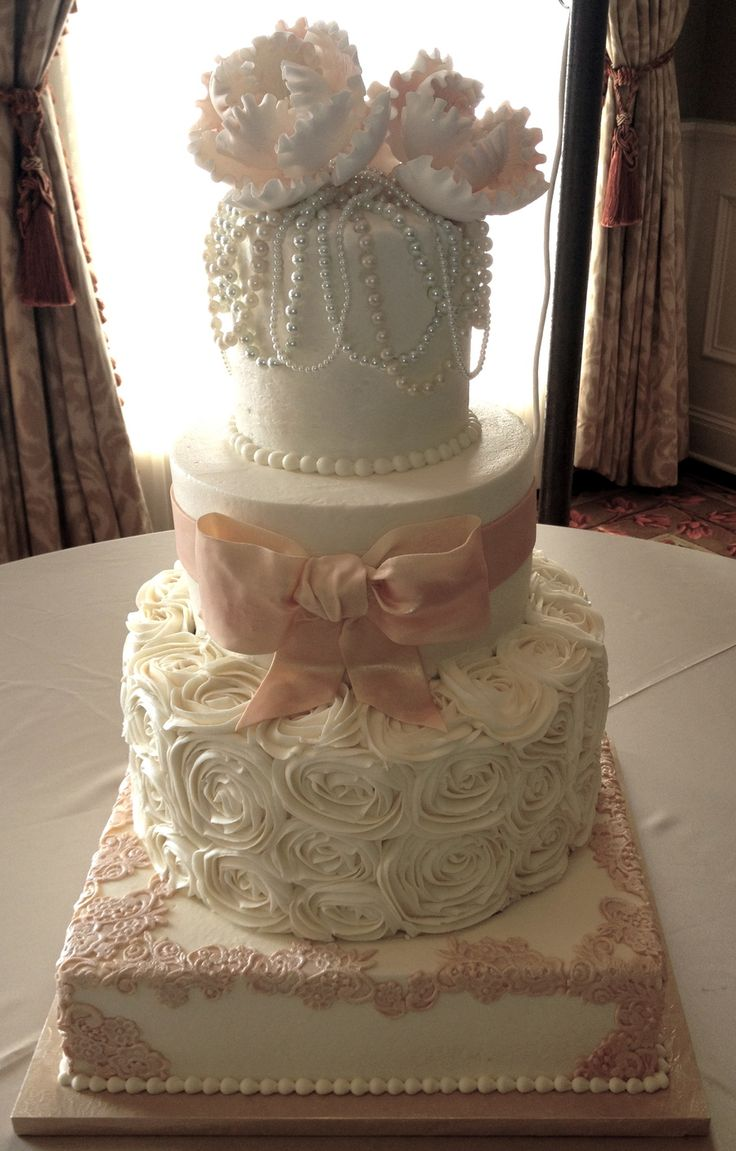 wedding cakes with roses and pearls buttercream with fondant bow and lace and real pearl 26108