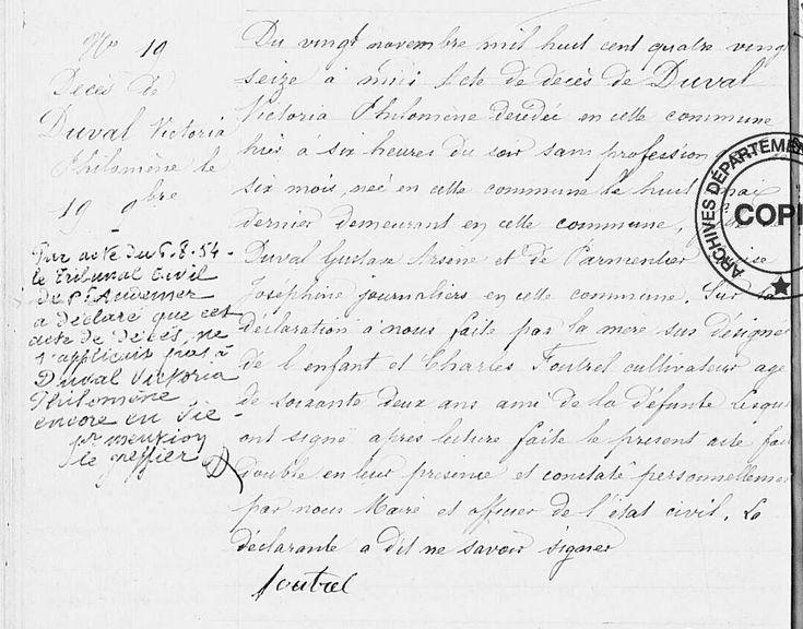 Faux Décès - DUVAL Victoria Philomène (1896 Bosguérard-de-Marcouville 27) | AD de l'Eure