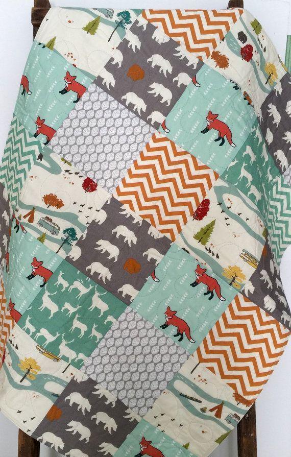 Baby Boy Quilt, Gender Neutral, Patchwork, Fox, Bear, Camping, Woodland, Chevron, Elk, Deer, Crib Bedding, Baby Bedding, Children