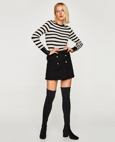 SWEATER WITH PEARLY CUFFS-View all-KNITWEAR-WOMAN | ZARA United Kingdom