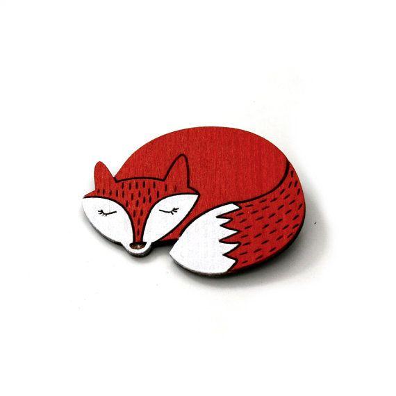 Fox Brooch Painted Wooden Fox Badge Wood by LaurasJewellery