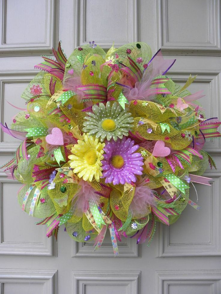 Whimsical Mother's Day Floral -  Deco Mesh - Gerbera Daisy Wreath - Home Decor