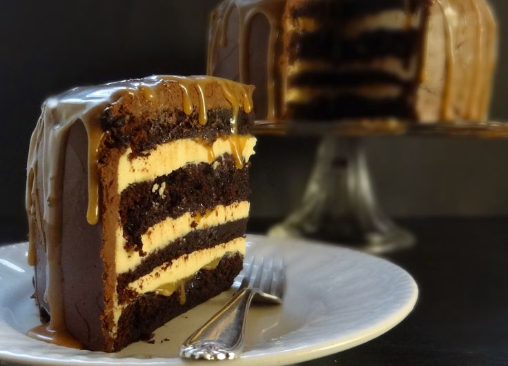 salted caramel chocolate fudge cake with salted caramel swiss meringue buttercream and whipped chocolate ganache