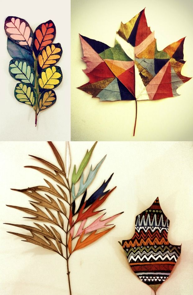 DIY painted leaves - leaf - autumn - fall - colorful - decor