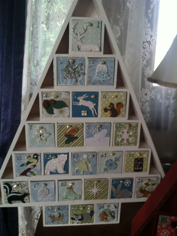 24 drawer painted wooden Advent Calendar with by MerryBellas, $100.00