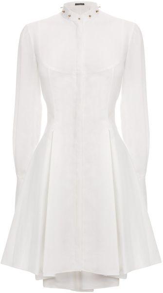 ALEXANDER MCQUEEN White Studded Collar Tuxedo Shirt Dress- Lyst