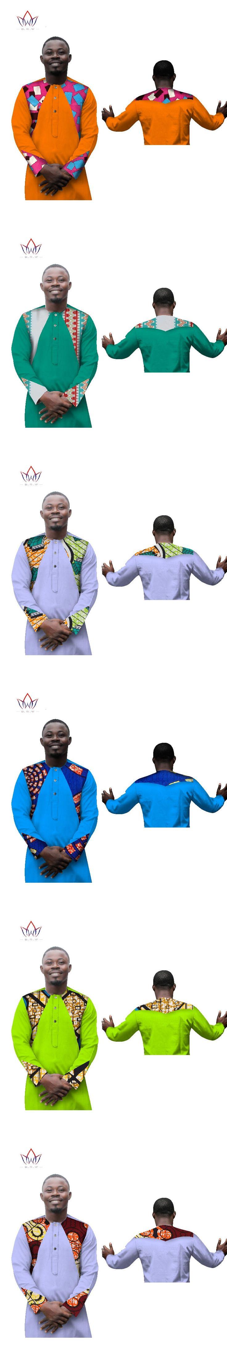2017 Traditional African Clothing Mens Long Sleeve Slim Fit Shirt Print Cotton Dashiki Men Camisa Social Masculina BRW WYN280