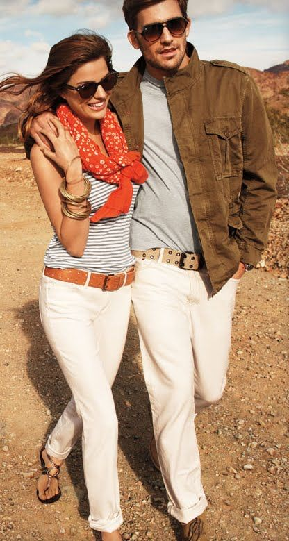 cute outfits, cute coupleWhite Skinny Jeans, Fashion, Summer Outfit, Style, White Pants, Scarves, Stripes, White Jeans, Belts