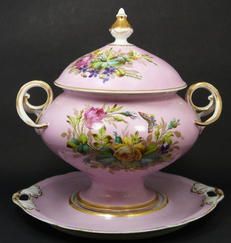 KPM German porcelain hand painted soup tureen with under plate. Has a beautiful hand painted floral bouquet design to body and cover with gilded trim. Holds blue KPM scepter mark to bottom used circa 1840 - 1895