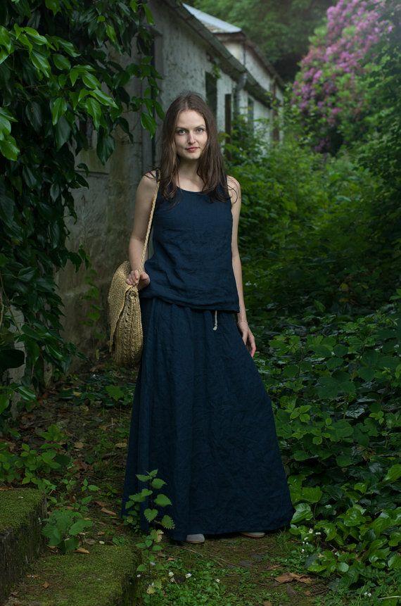 Long Linen Skirt. Navy Blue by KnockKnockLinen