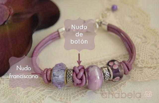 pulsera-de-cuero-orquidea-cristal-murano #leather bracelet