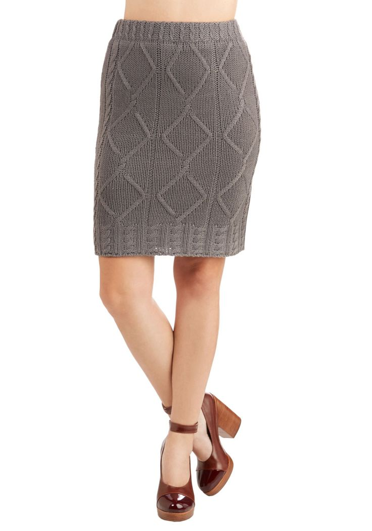 Little By Knitter Skirt by Nick & Mo - Mid-length, Knit, Grey, Solid, Knitted, Casual, Pencil, Fall, Winter, Rustic, Scholastic/Collegiate, Better, Grey