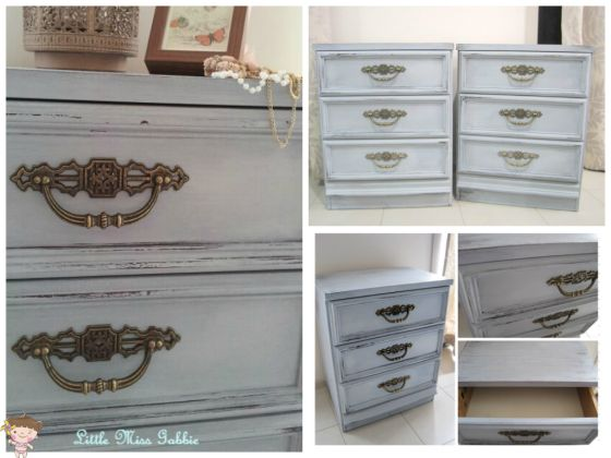 miss mustard seed shutter grey  upcycled vintage bedside tables