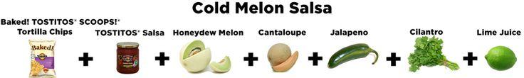 Easy dip recipes via a Buzzfeed post (sponsored by Tostitos). Cold melon salsa? Yes plzzzz
