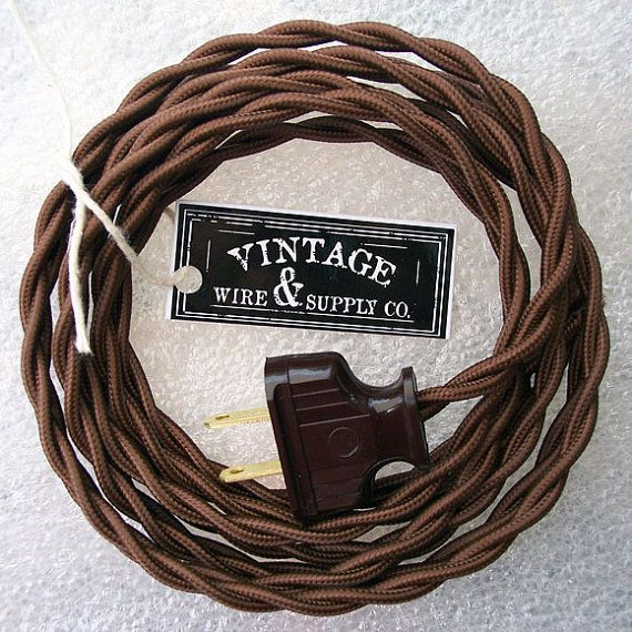 Brown Lamp Cord - Cloth Covered Cotton Wire - 8-ft Cordset - Rewire - Vintage Style Lamp Wire - Steampunk Lamp - Minimalist  - Edison Lamp