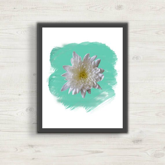 White Chrysanthemum Aqua Watercolor Picture Art, Wall Art, Digital Art, Print at Home, Home Decor, Office Decor, Nursery or Bedroom Decor