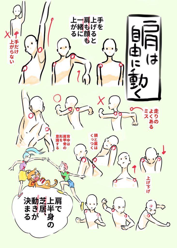 Favorite tweet by @animesijyuku // 肩は自由に動く 手を上げると肩も顔も一緒に上がる 上半身の動きは肩で決まる 走り手だけ振ることはないむしろ肩に連動して手が動くくらいに考える 肩の可動域=躍動感 自分の体で肩の動きを確認してみよう http://55.sasanov.net/1Xdx3fP
