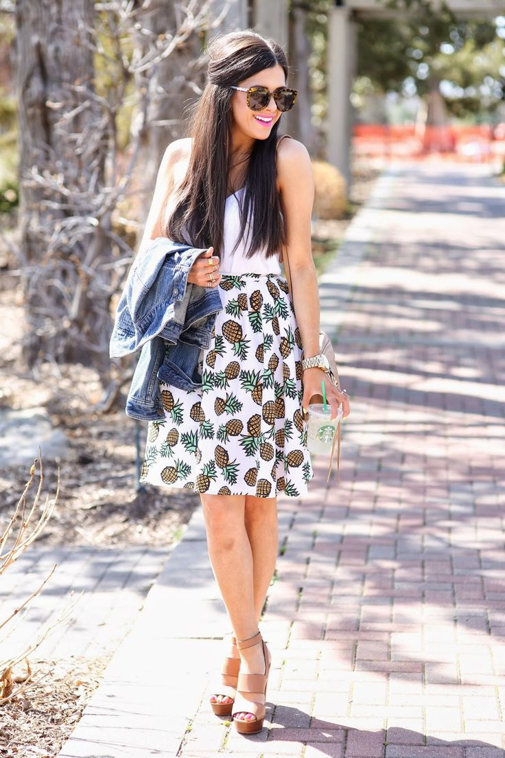 a-line pineapple skirt - spring outfit idea