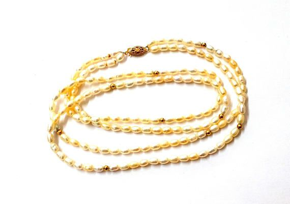 14k Double Strand Fresh Water Pearls and Gold Ball Necklace#Pearls #vogueteam #14k