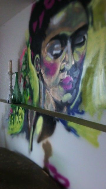 Frida Khalo graffiti-style painting/mural in my dining room